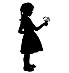 Silhouette girl with flowers vector
