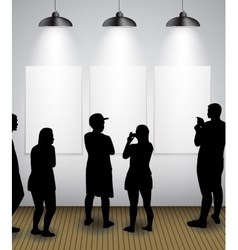 Silhouette of people in Background with Lighting vector image
