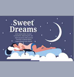 sweet dreams concept with woman on a cloud vector image