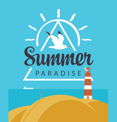 travel summer banner with seascape and lighthouse vector image