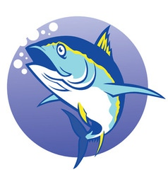 Tuna in deep blue sea vector