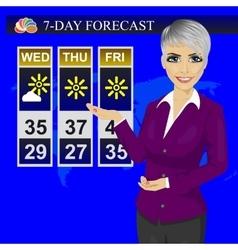 Tv weather news reporter meteorologist anchorwoman vector