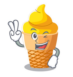 two finger banana ice cream isolated on mascot vector image