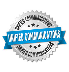 Unified communications round isolated silver badge vector