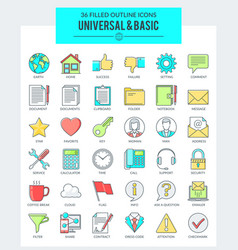 universal basic icons vector image