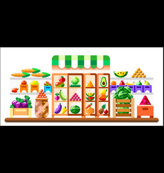 vegetable shop indoor with showcase and vector image