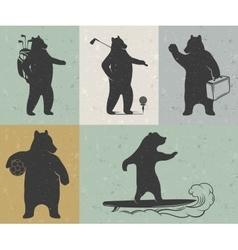 vintage bear vector image
