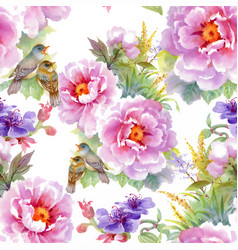 watercolor hand drawn seamless pattern with vector image