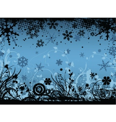 winter floral grunge vector image