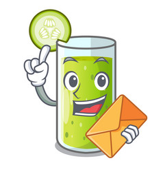with envelope cucumber juice in a cartoon glass vector image