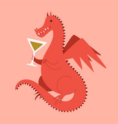 with red dragon drinking cocktail funny party vector image