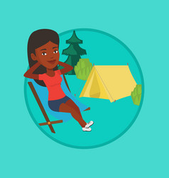 Woman sitting in folding chair in the camp vector