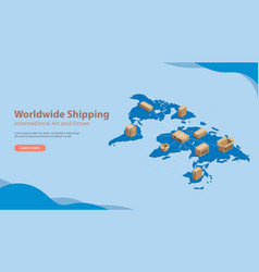 world wide international shipping business with vector image