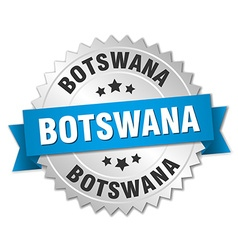 Botswana round silver badge with blue ribbon vector image