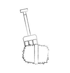 farm rake with straw blocks vector image