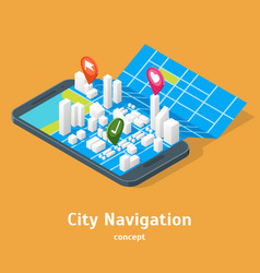 Mobile gps city navigation maps concept 3d vector