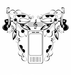 mobile phone music vector image vector image
