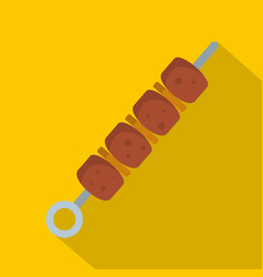 shish kebab icon flat style vector image vector image