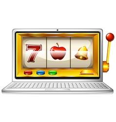 Slot machine on computer display vector image vector image