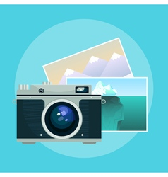 vintage camera and pix vector image vector image