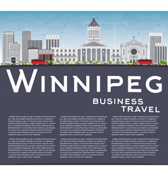 Winnipeg Skyline with Gray Buildings vector image vector image