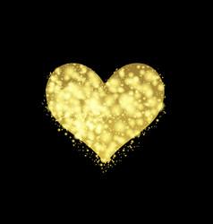 golden valentine heart vector image