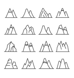 mountains outline set vector image