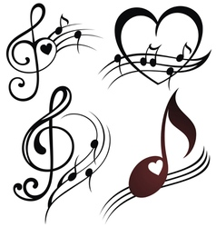 Musical note staff set vector image