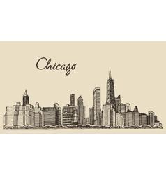 Chicago skyline big city engraving drawn vector