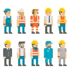 Flat design construction workers set vector image vector image