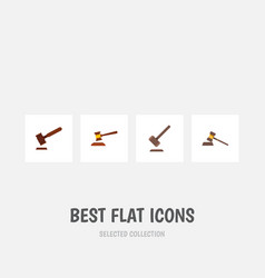 flat icon hammer set of tribunal justice hammer vector image