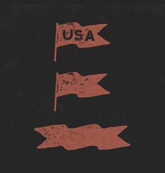 hand drawn vintage flags collection retro roughen vector image vector image