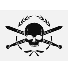 Skull and crossed sword medieval black emblem vector image vector image