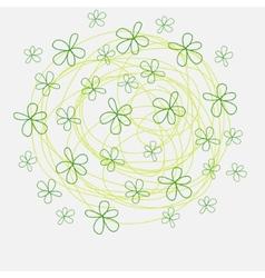 Summer flowers of doodles style handmade print vector