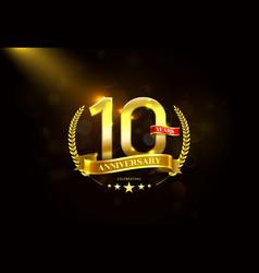 10 years anniversary with laurel wreath golden vector image