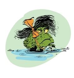 Amphibian frog girl vector