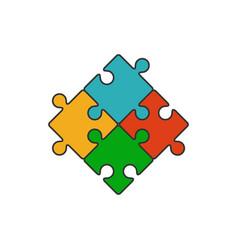 four piece puzzle flat line icon vector image