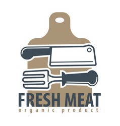 organic meat product logotype with cutleries and vector image vector image