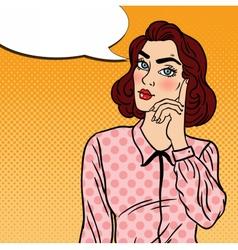 Pop Art Doubtfull Business Woman vector image