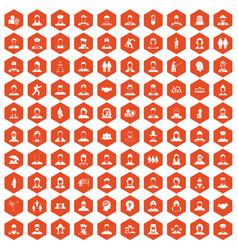 100 people icons hexagon orange vector