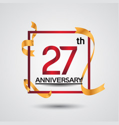 27 anniversary design with red color in square vector