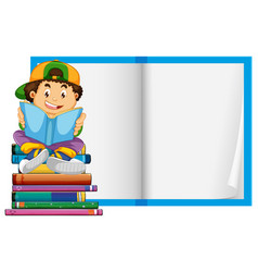 a boy on blank template vector image