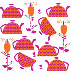 abstract adorable tea pot seamless pattern it is vector image