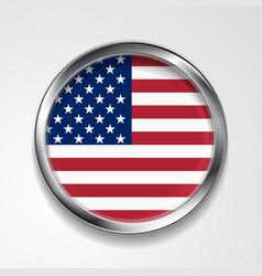 Abstract button with metallic frame USA flag vector image