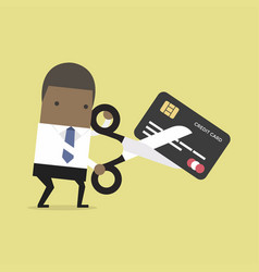 african businessman cutting credit card vector image