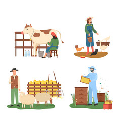 Agriculture and farming cow and sheep chicken vector