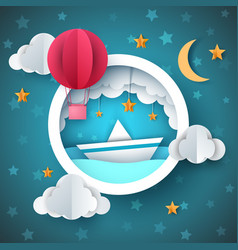 Air balloon ship cartoon sea vector