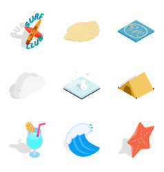 Aquatic icons set isometric style vector