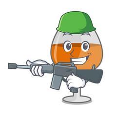 Army cognac ballon glass character cartoon vector