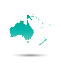 australia and oceania map colorful turquoise on vector image